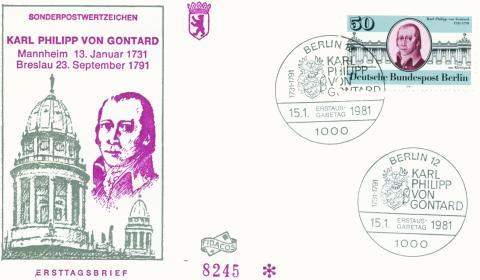 Sonderpostwertzeichen zum 250. Geburtstag Gontards